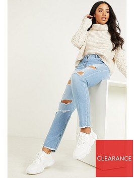 quiz-woven-extra-rip-mom-jeans-light-blue
