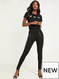 quiz-pu-trim-legging-black