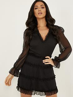 quiz-long-sleeve-skater-dress-black