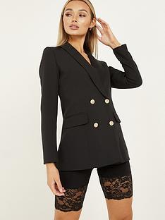 quiz-woven-long-sleeve-gold-button-blazer-black
