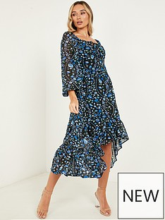 quiz-chiffon-ditsy-printed-gathered-bust-long-sleeve-dress-blue