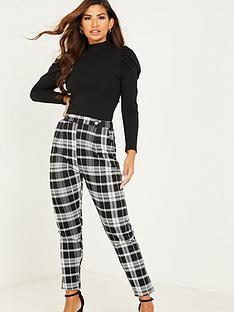 quiz-jacquard-check-button-trouser-black