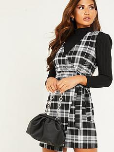 quiz-jacquard-check-wrap-dress-black