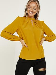quiz-cutout-neck-long-sleeve-blouse-mustard