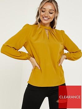 quiz-cutout-neck-long-sleeve-blouse-mustard