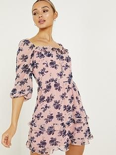 quiz-chiffonnbspskater-dress-pinknavy