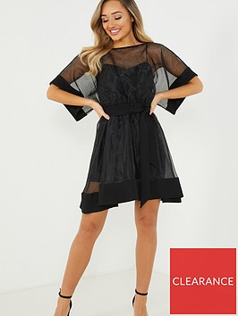 quiz-organza-skater-dress-black