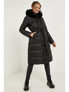 quiz-quiz-black-padded-fur-hood-tie-belt-long-line-jacket