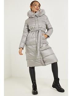 quiz-quiz-grey-padded-fur-hood-tie-belt-long-line-jacket