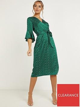 quiz-satin-long-sleeve-midinbspdress-green