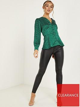 quiz-satin-polka-dot-peplum-top-green