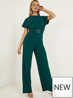 quiz-scuba-crepe-gathered-buckled-palazzo-jumpsuit-bottle-green