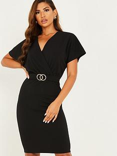 quiz-scuba-crepe-wrap-front-buckle-midi-dress-black