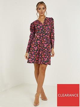 quiz-floral-long-sleeve-buckle-skater-dress-pink