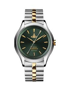 vivienne-westwood-vivienne-westwood-the-saville-green-sunray-and-gold-detail-dial-two-tone-stainless-steel-bracelet-ladies-watch