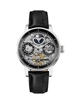 Ingersoll Ingersoll The Jazz Silver Skeleton Moonphase Automatic Dial Black Leather Strap Watch, One Colour, Men