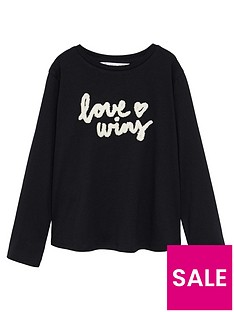 mango-girls-love-wins-long-sleeve-tshirt-black