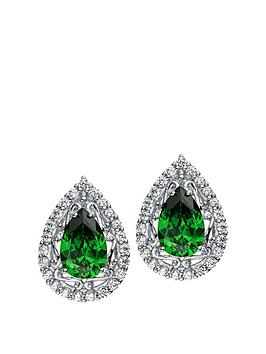 the-love-silver-collection-rhodium-plated-sterling-silver-white-and-emerald-cubic-zirconia-teardrop-stud-earrings