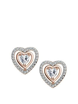 the-love-silver-collection-rose-gold-and-rhodium-plated-sterling-silver-white-cubic-zirconia-heart-stud-earrings
