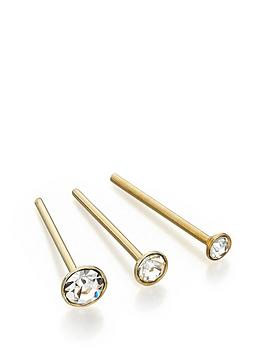 the-love-silver-collection-set-of-3-gold-plated-sterling-silver-crystal-nose-studs