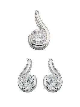 the-love-silver-collection-clear-cubic-zirconia-drop-pendant-and-earring-set