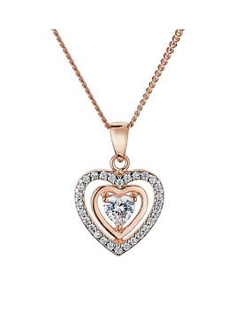 the-love-silver-collection-rose-gold-and-rhodium-plated-sterling-silver-white-cubic-zirconia-heart-pendant-necklace