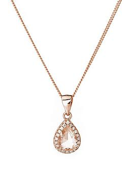 the-love-silver-collection-rose-gold-plated-sterling-silver-glass-morganite-and-white-cubic-zirconia-teardrop-pendant-necklace