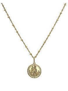the-love-silver-collection-gold-plated-sterling-silver-st-christopher-spinner-pendant-withnbspbeaded-chain