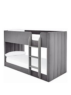 panelled-velvet-bunk-bed-with-mattress-options-buy-and-savenbsp--grey