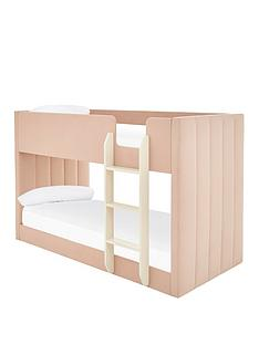 panelled-velvet-bunk-bed-with-mattress-options-buy-and-savenbsp--pink