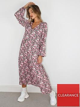 missguided-missguided-oversized-balloon-sleeve-florla-midi-smock-dress-pink