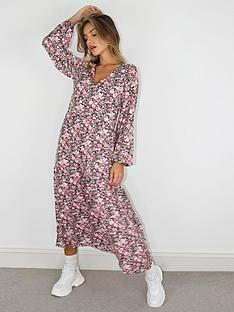 missguided-missguided-oversized-balloon-sleeve-florla-midi-smock-dress