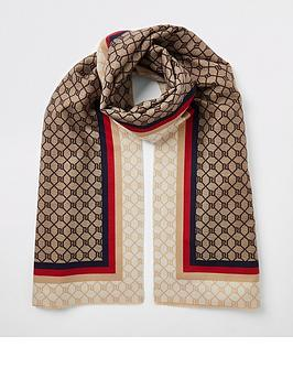 river-island-border-monogram-scarf-brown