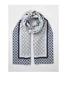 river-island-checkerboard-monogram-scarf-light-grey