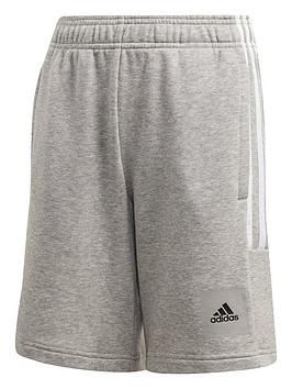 adidas-junior-boys-dmh-3-stripe-shorts-greywhite