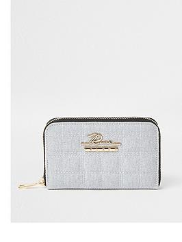 river-island-lurex-thread-quilted-ziparound-purse-grey