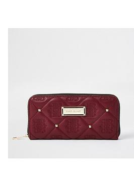 river-island-quilted-stud-ziparound-purse-dark-red