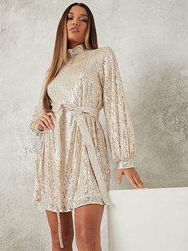 missguided-missguided-high-neck-balloon-sleeve-dress-champagne