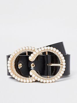 river-island-pearl-and-diamond-circle-belt-black