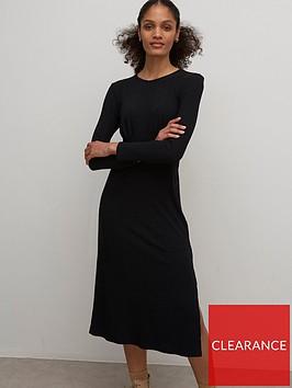 nobodys-child-yasmin-rib-long-sleeve-dress-black