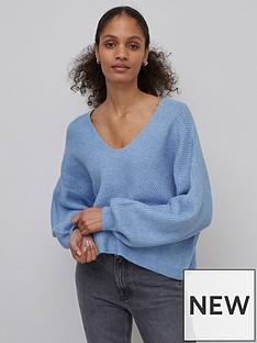 nobodys-child-v-neck-croppednbspfisherman-sweater-blue