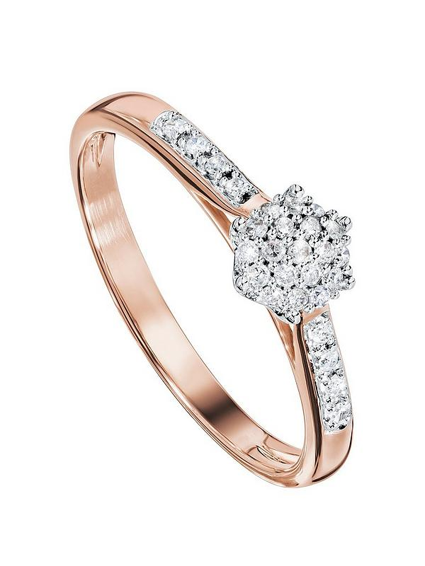 Love Diamond 9ct Rose Gold 10 Point Diamond Cluster Engagement Ring Very Co Uk