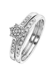 love-diamond-9ct-white-gold-16-point-diamond-cluster-bridal-set