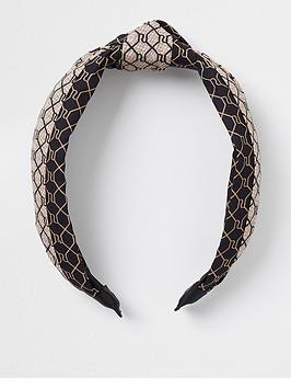 river-island-monogram-splice-alice-band-brown