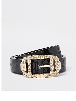 river-island-patent-embossed-belt-black