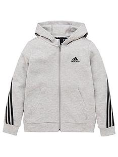 adidas-boys-3-stripe-full-zip-hoodie-grey-black