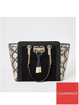 river-island-snake-print-winged-tote-black