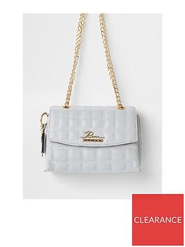 river-island-branded-quilted-lurex-stitch-satchel-bag-grey