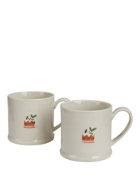gisela-graham-set-of-2nbspceramic-plum-pudding-christmasnbspmini-mugs