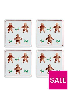gisela-graham-set-of-4nbspgingerbread-men-christmasnbspcoasters